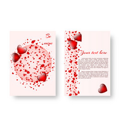 romantic banner with red hearts vector image vector image