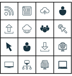 Set of 16 internet icons includes display login vector