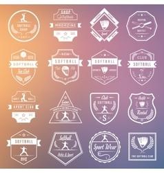Set softball badges and logos vector