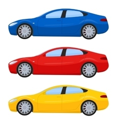 Sports cars in different colors vector image vector image