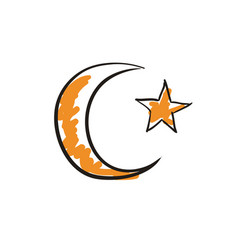 Star and crescent islamic symbol vector