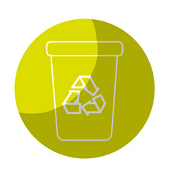 Sticker recycle can trash to care environment vector