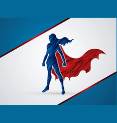 Super hero woman standing graphic vector