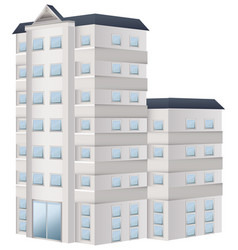 Tall building painted in white vector