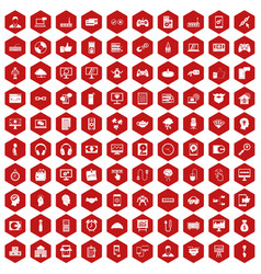 100 programmer icons hexagon red vector image vector image