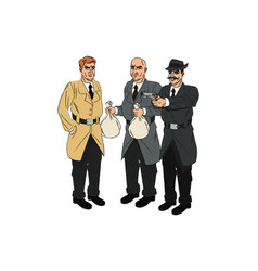 Inspector police and thief cartoon design vector