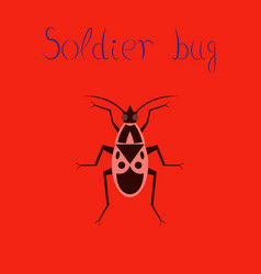 Flat icon on background soldier bug vector