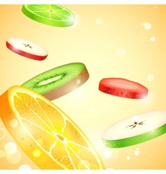 Fresh fruit slices vector
