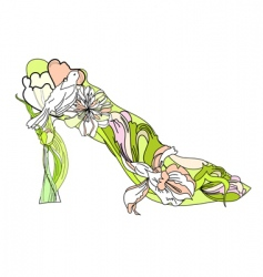 shoes with decorative flowers vector image