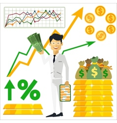 Happy man trader holding dollars in hand vector image