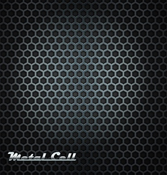 Metal cell background with shining label vector