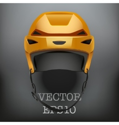 Background of classic orange ice hockey helmet vector