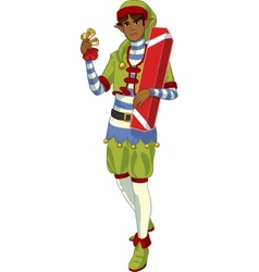 Christmas elf African American boy with gift vector image