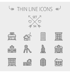 Construction thin line icon set vector