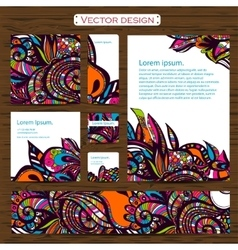 Set of 7 doddle ornamental business cards on a vector