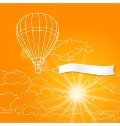 Air balloon with blank banner flying in the sunny vector