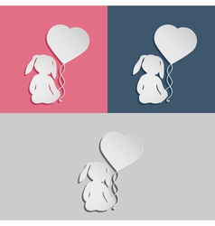 Rabbit child with heart balloon vector
