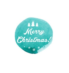 Watercolor winter label with text merry christmas vector
