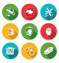 European integration of ukraine icons set vector