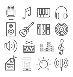 Music icons in trendy linear style vector