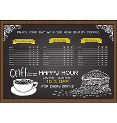 Coffee menu on chalkbaord vector