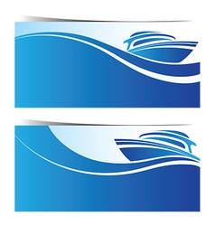 Yacht boat banner vector