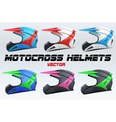 Set of original motorcycle helmets vector