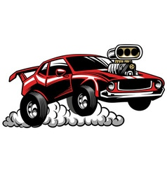 Muscle car look with supercharged engine vector