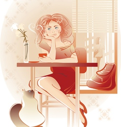 Lady coffee vector