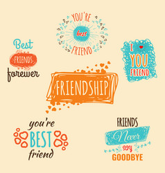 best friend logos set with text labels vector image vector image