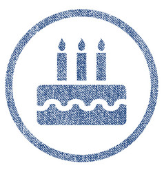 Birthday cake rounded fabric textured icon vector