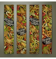 Cartoon mexican food doodles banners vector