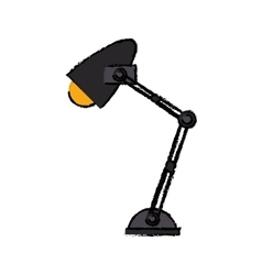 Cartoon office desk lamp yellow light icon vector