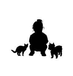 Child with cat and dog adorable silhouette in vector