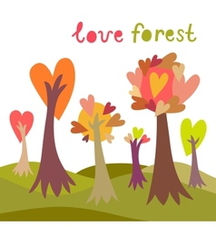 Colorful love forest background vector image vector image