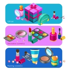 Cosmetics isometric banners vector