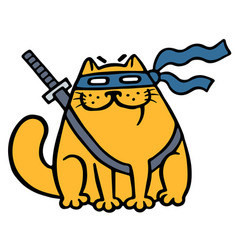 Cute fat ninja cat in a mask and a sword vector