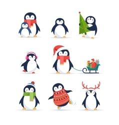 Cute penguins set - merry christmas greetings vector