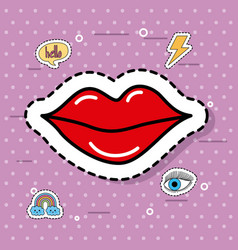 cute red women lipstick fantasy icons sticker vector image