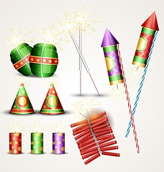 Diwali crackers set vector