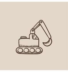 Excavator sketch icon vector