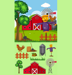 Farm scene with scarecrow and other elements vector