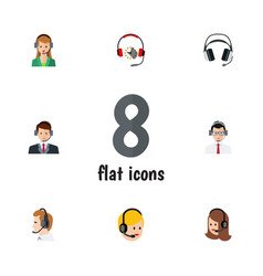 Flat hotline set of headphone earphone help and vector