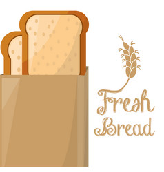 Fresh bread slice loaf paper bag shop vector