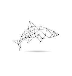 Geometric shark design silhouette vector