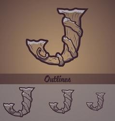 Halloween decorative alphabet - J letter vector image