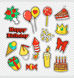 happy birthday party stickers badges vector image vector image