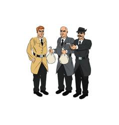 Inspector police and thief cartoon design vector
