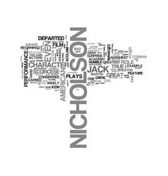 Jack nicholson text background word cloud concept vector