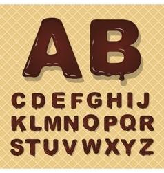 latin capital alphabet made of chocolate vector image